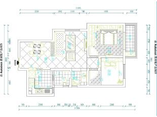 鑫苑景园15号楼89平两室两厅田园风格装修户型图,89平,8万,田园,两居,