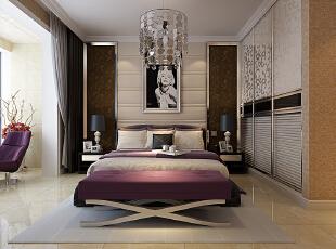 主卧 衣柜是镶嵌在里面的,这样既节省空间。又美观。,139平,15万,美式,三居,