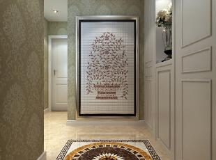 走廊 玄关墙上的画加上地面上的图案形成了鲜明的对,让人遐想无限,139平,15万,美式,三居,石家庄乐豪斯,