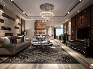 西安城市人家装饰公司│现代奢华180㎡四居室样板间,180平,20万,现代,四居,客厅,简约,