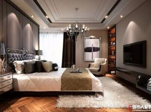 西安城市人家装饰公司│现代奢华180㎡四居室样板间,180平,20万,现代,四居,简约,卧室,
