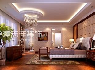 主卧室:面积较大,配有开敞式的书房,卫生间分区明确,衣帽间整洁,有着良好的居住办公的环境。,1080平,150万,欧式,别墅,卧室,