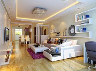 现代设计追求的是空间的实用性和灵活性。空间的利用率达到最高。简洁和实用是现代简约风格的基本特点。简约风格已经大行其道几年了,仍然保持很猛的势头,这是因为人们装修时总希望在经济、实用、舒适的同时,体现一定的文化品味。而简约风格不仅注重居室的实用性,而且还体现出了工业化社会生活的精致与个性,符合现代人的生活品位。本案风格简洁大气,木色生香,适合节奏生活快速的都市人。,89平,3万,现代,三居,客厅,