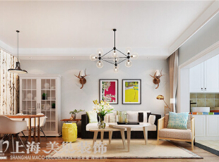 郑州建业贰号城邦装修设计案例效果图90平两室两厅北欧风格效果图——客餐厅,90平,5.5万,欧式,两居,客厅,餐厅,