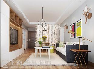 建业贰号城邦90平两室两厅北欧风格装修案例——客厅装修效果图,90平,5.5万,欧式,两居,客厅,