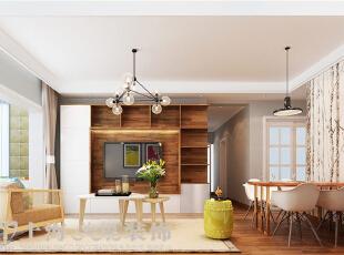 建业贰号城邦90平2室2厅北欧风格装修样板间——客餐厅装修效果图,90平,5.5万,欧式,两居,客厅,餐厅,