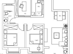 建业贰号城邦90平两室两厅北欧风格装修户型图,90平,5.5万,欧式,两居,