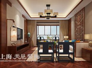 永威五月花城10号楼3室2厅新中式风格装修方案---客厅侧面装修效果图,138平,8万,中式,三居,