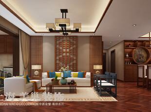 郑州永威五月花城138平方三室两厅新中式风格装修效果图---沙发墙新中式风格装修案例,138平,8万,中式,三居,
