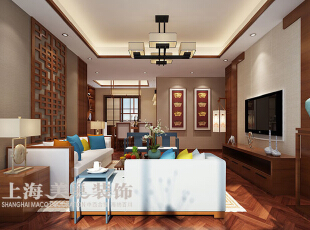 永威五月花城138平方三室两厅装修效果图---客厅新中式风格装修效果图,138平,8万,中式,三居,