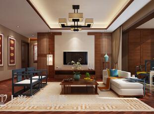 永威五月花城138平方3室2厅新中式风格装修效果图---电视背景墙装修效果图,138平,8万,中式,三居,