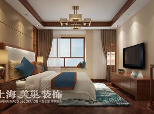 永威五月花城三室两厅新中式风格装修案例设计---主卧室装修效果图,138平,8万,中式,三居,