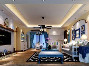 地中海的特点就是,无须造作,本色呈现,对于久居都市,习惯了喧嚣的现代都市人而言,地中海风格给人们以返璞归真的感受,同时体现了对于更高生活质量的要求。,120平,20万,三居,地中海,客厅,蓝色,