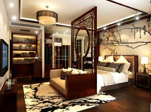 设计理念:由于卧室的空间十分开阔,所以在满足了卫生间,衣帽间的同时 又分割出了一个休闲区。这样的一个套间对于业主来说是十分享受的。,300平,42万,中式,别墅,卧室,