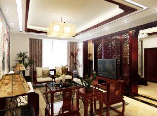 设计理念:客厅和玄关之间的过渡巧妙的运用花格分割,不仅做到了区域的划分,更是对客厅背景的巧妙延伸。,300平,42万,中式,别墅,玄关,客厅,