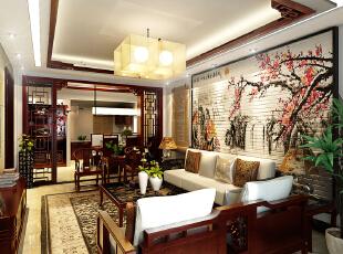 设计理念:客厅和餐厅区也是十分巧妙的运用了中式花格做了区域的划分,沙发背景的挂画更是彰显了整体大气的风格。,300平,42万,中式,别墅,客厅,餐厅,