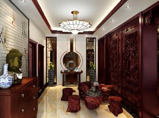 设计理念:玄关处的设计最为精彩,通过一个十分古典的玄关墙造型,让人一进门就抓住了所有人的眼球。 周围的配饰也是十分灵动,300平,42万,中式,别墅,玄关,
