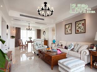 简约实木与布艺的结合,120平,40万,美式,四居,客厅,