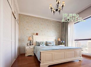 纯纯的色彩,清新的味道,时光静怡,120平,40万,美式,四居,卧室,