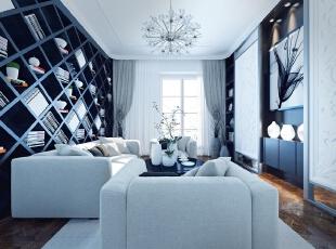 ,290平,120万,新古典,大户型,客厅,白色,