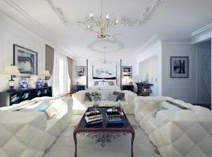 ,290平,120万,新古典,大户型,卧室,白色,