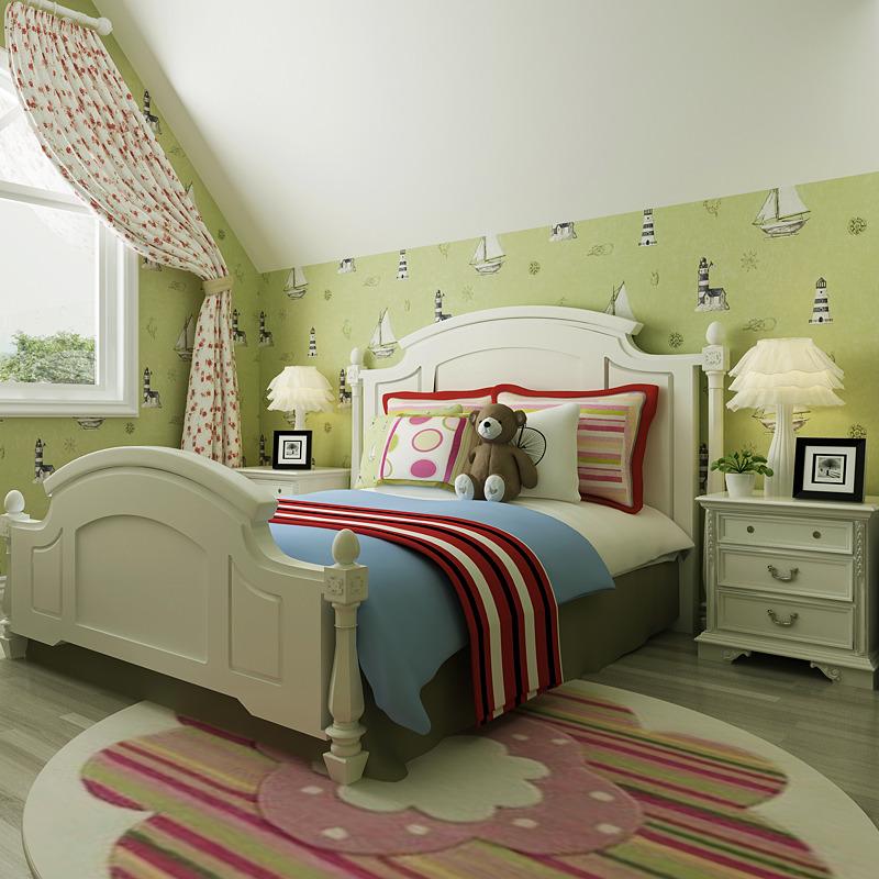 米冠 蓝色地中海小帆船无纺布墙纸 儿童房男女孩卧室床头书房壁纸图片