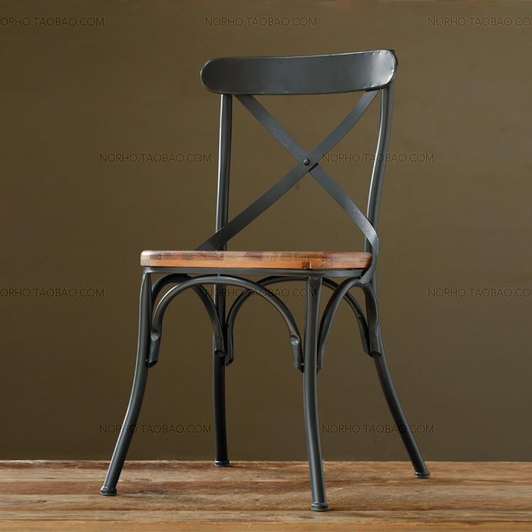定制 美式乡村家具 铁艺做旧复古酒吧餐桌椅 仿古实木餐桌餐椅【现货】