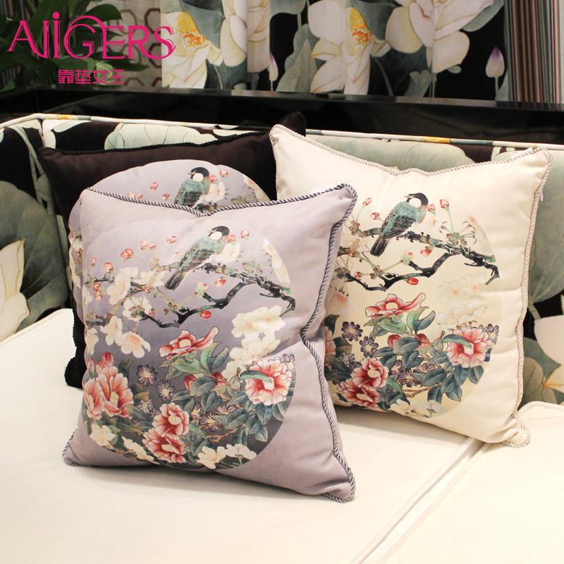 创意中式花鸟 沙发靠垫办公室靠枕床头抱枕含芯靠包靠背大号定做图片