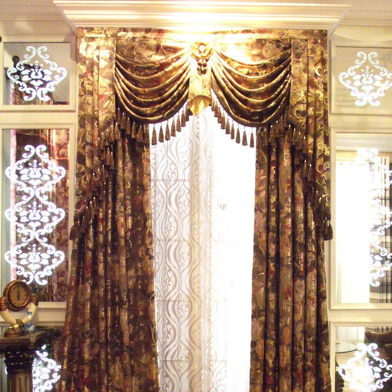 布居艺阁奢华欧式窗帘 高档定制客厅飘窗烫金全遮光布料窗幔包邮图片