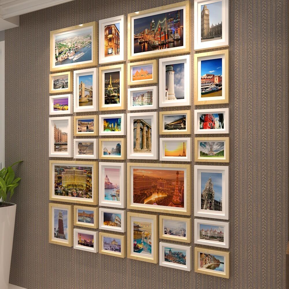全国包邮36框竖版大尺寸实木创意相框组合相片墙照片墙1.8米高图片