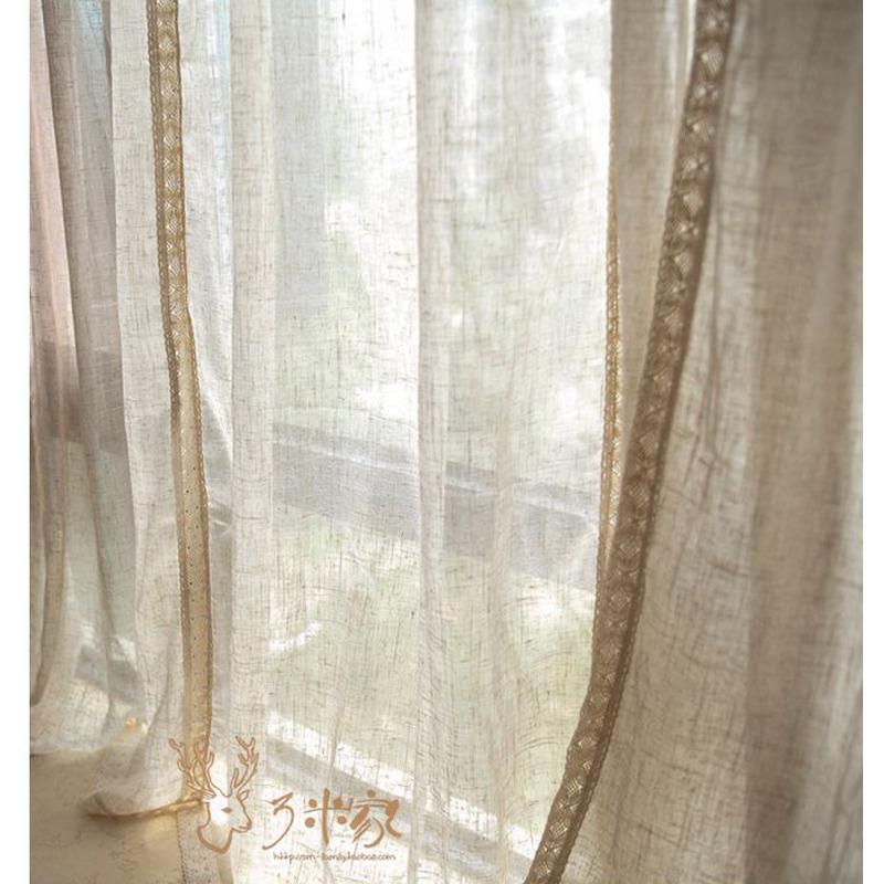 阳台窗帘内纱/新中式现代百搭麻纱/拼接纱帘/美式落地窗麻质纱帘图片