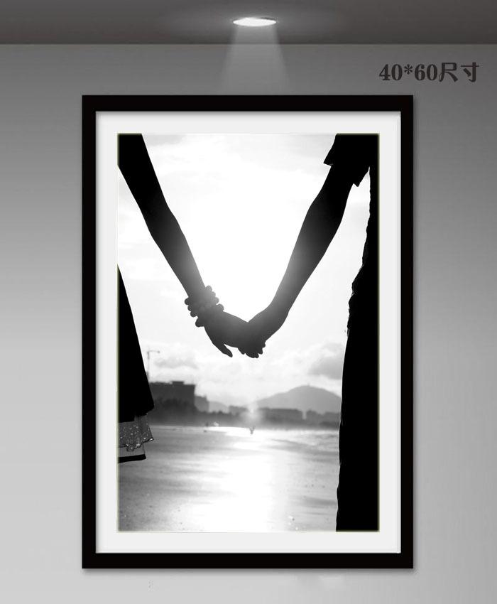 卧室床头装饰画三联温馨现代简约墙画壁画创意爱情有框画黑白挂画图片