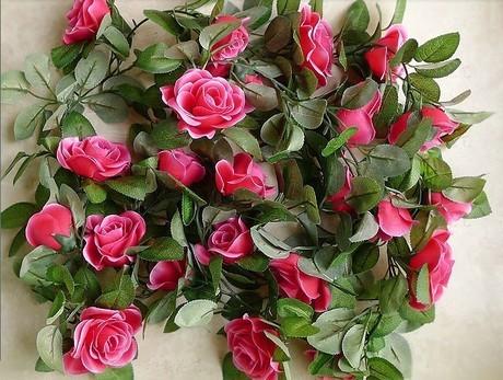 特价新款玫瑰花藤条壁挂装饰婚庆布置背景装饰花藤蔓图片