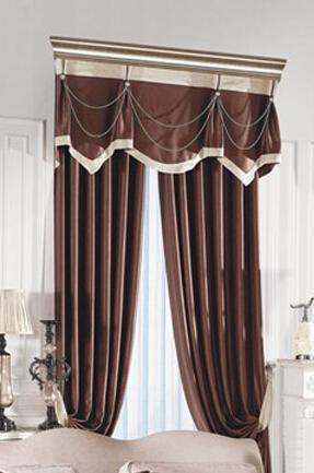 卧室高丝绒布窗帘 欧式窗帘定做图片