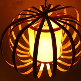 天然竹手工制创意可折叠吊灯  现代中式家居装饰灯饰