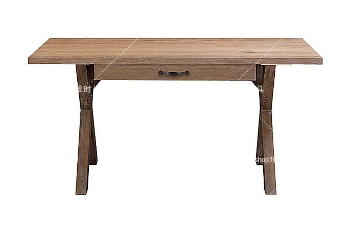 美式乡村书桌 复古实木家具 外贸欧式交叉腿电脑桌写字台 办公桌图片