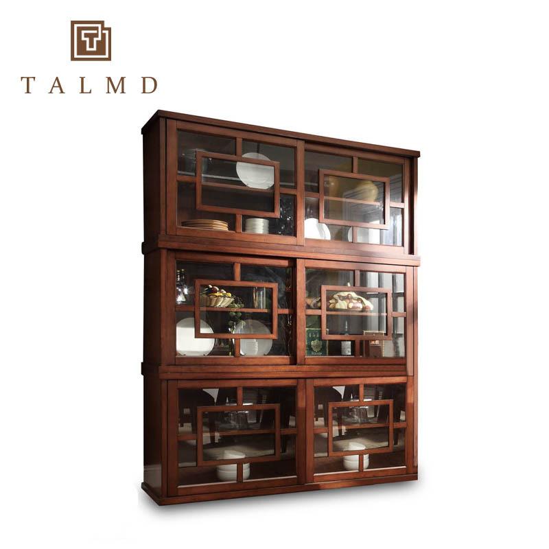 现代中式实木酒柜高档复古储物柜大户型玻璃双门餐边碗柜定制家具图片