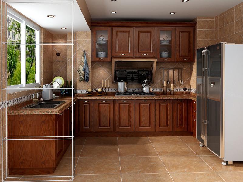 班德橱柜 复古 l形厨房厨柜 纯实木整体橱柜 柜门石英石台面定做图片