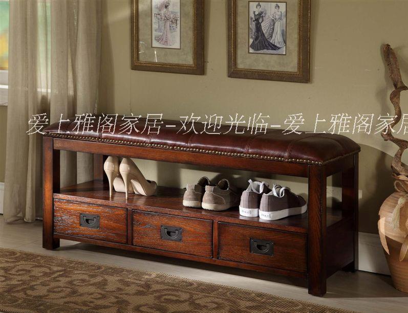 欧式田园实木床尾凳 美式储物玄关凳换鞋凳 简约皮面长凳 特价图片