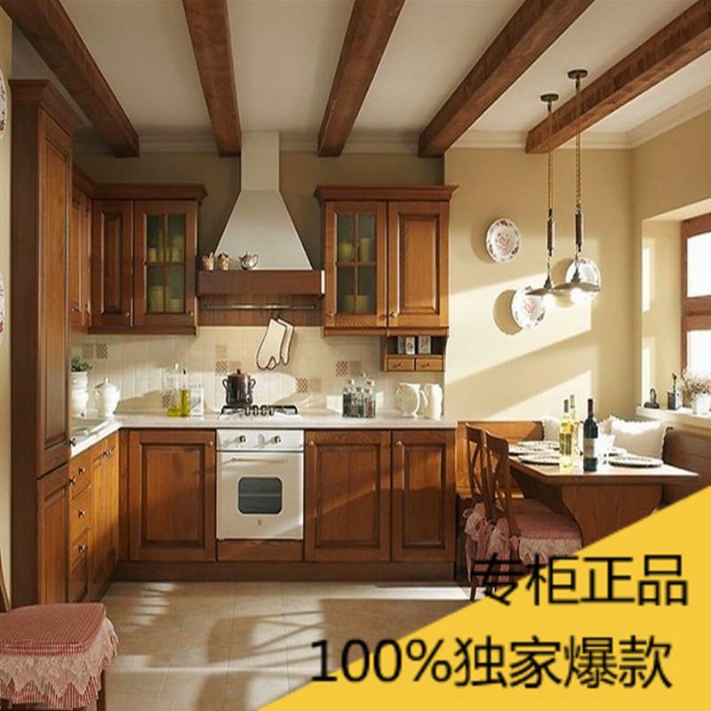 上海整体厨房橱柜定制实木橡木门板石英石台面橱柜酒柜衣柜定做图片