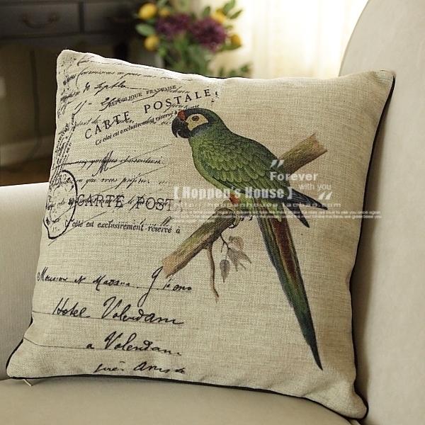 美式乡村田园风格鹦鹉沙发靠垫/抱枕图片