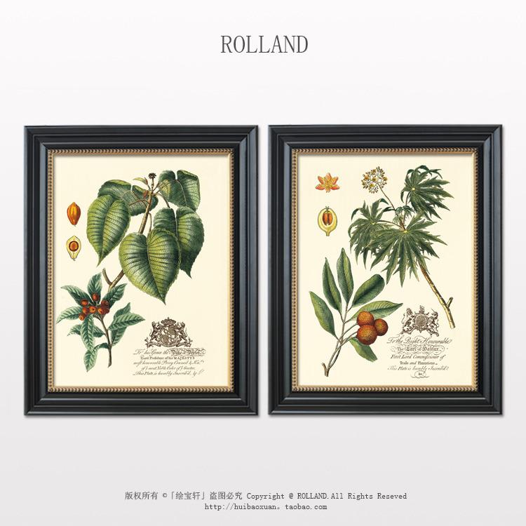 客厅卧室电表箱挂画 植物花卉有框美式装饰画 花卉高档餐厅装饰画图片