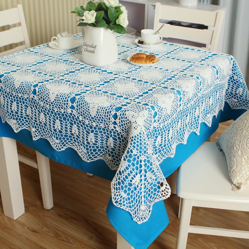 纯手工钩针镂空桌布 纯棉餐桌布 欧式田园餐桌茶几盖布图片