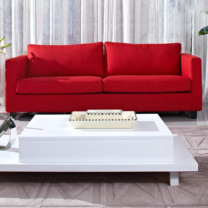 华日家居现代简约韩式红色实木布艺二人可组合沙发