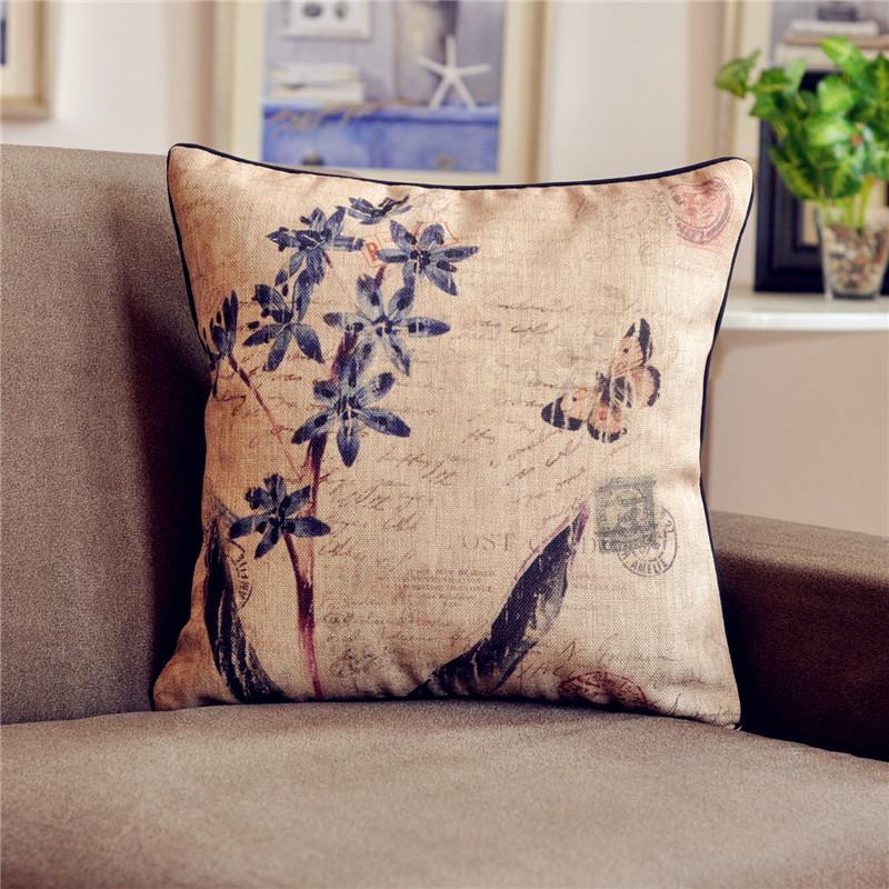 外贸 美克美家 法式美式乡村 复古 田园 兰花 棉麻 靠垫抱枕 含芯图片