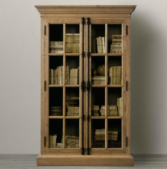 美式风格橡木做旧书柜图片