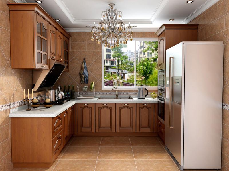 南美樱桃木实木整体橱柜l 厨房厨柜定做 定制欧式中式美式风格