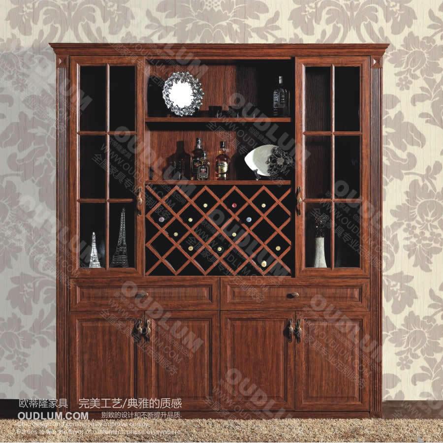 复古仿实木酒酒柜壁柜家具定制 欧式吧台酒柜 简欧格子酒柜jg01s图片