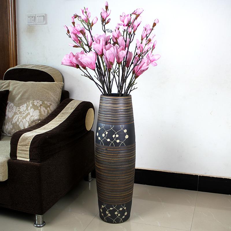 复古客厅现代中式落地大花瓶套装 软装装饰品 家饰摆件干花花瓶图片