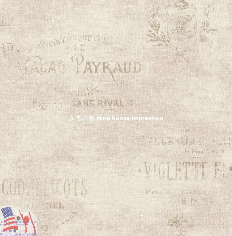 美国壁纸 进口墙纸 怀旧风格wq-w-c-7 英文字母 英式图片